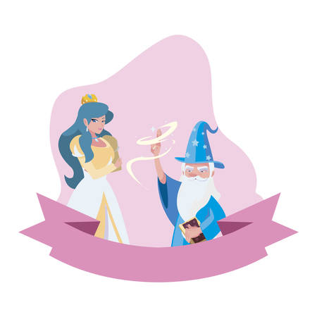 beautiful princess with wizard of tales characters vector illustration design Illustration