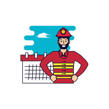 firefighter professional with calendar reminder vector illustration design