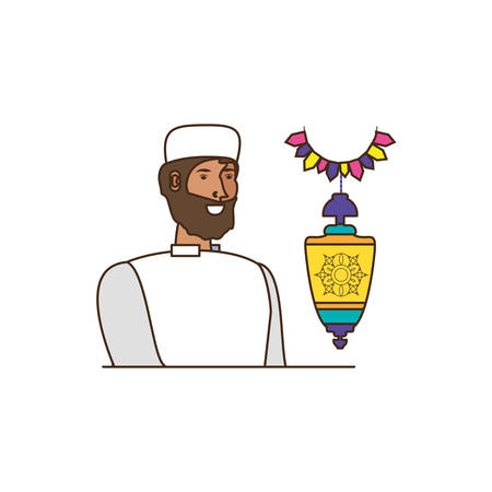 islamic man with beard and lantern hanging vector illustration design