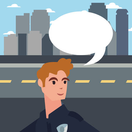 policeman speech bubble city street road building background vector illustration