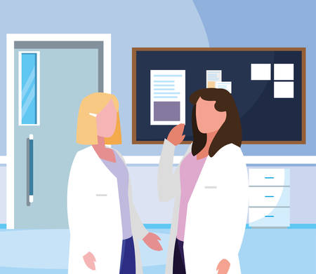 female medicine workers in hospital corridor vector illustration design