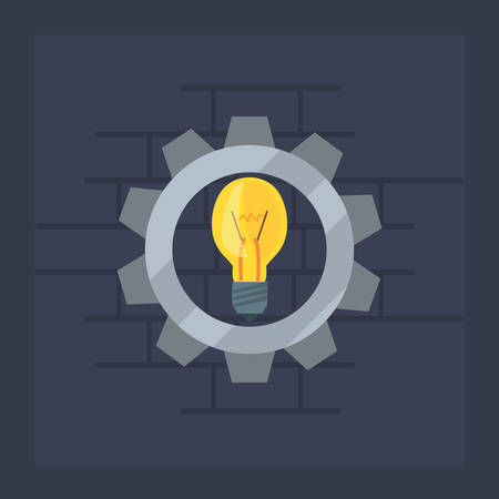 light bulb gear tool wall brick vector illustration design Ilustrace