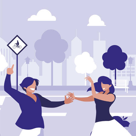 young couple dancing in the park characters vector illustration design