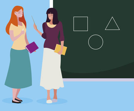 female teachers couple with textbooks and chalkboard vector illustration design Ilustração