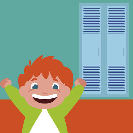 happy little schoolboy in school corridor vector illustration design  イラスト・ベクター素材