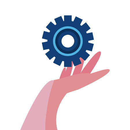 hand with gear wheel vector illustration design Illustration