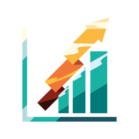 business chart gold arrow profit vector illustration