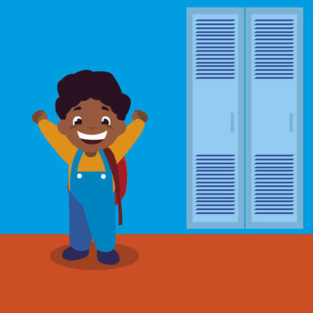 little black schoolboy with schoolbag in school corridor vector illustration design Stock Illustratie