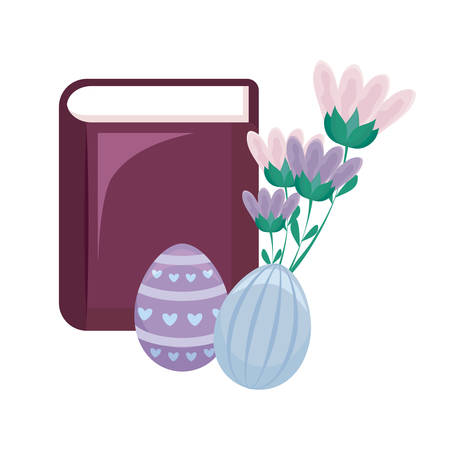 bible with eggs of easter and flowers vector illustration design Banque d'images - 125009738