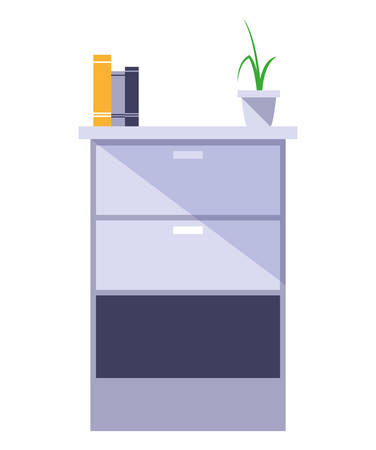 wooden drawer with books and plant vector illustration design