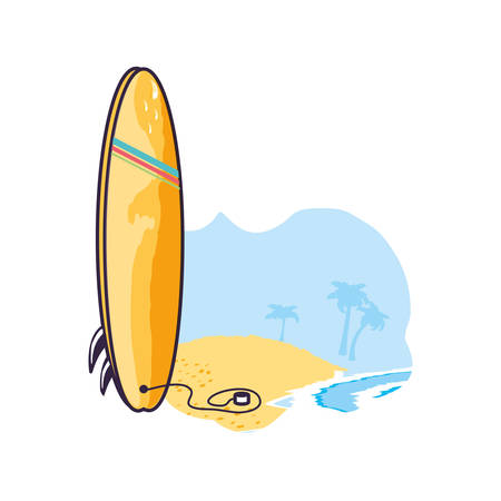 surfboard equipment sport in the beach vector illustration design Illustration