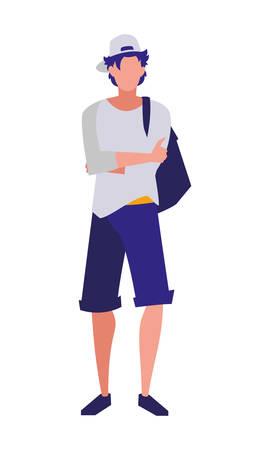 young boy student modeling vector illustration design