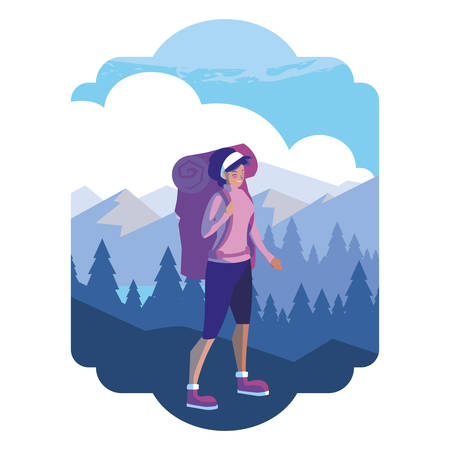 adventurous woman with travelbag in the snowscape vector illustration design Stock Illustratie