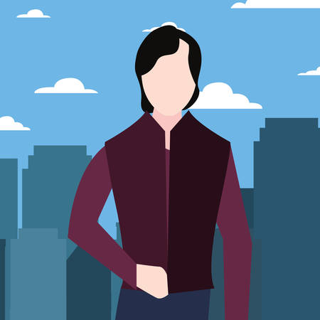 man in the street city vector illustration  イラスト・ベクター素材