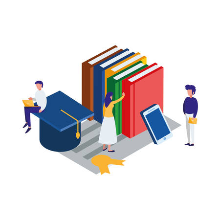 pile text books with smartphone and mini people vector illustration design Banque d'images - 125027297