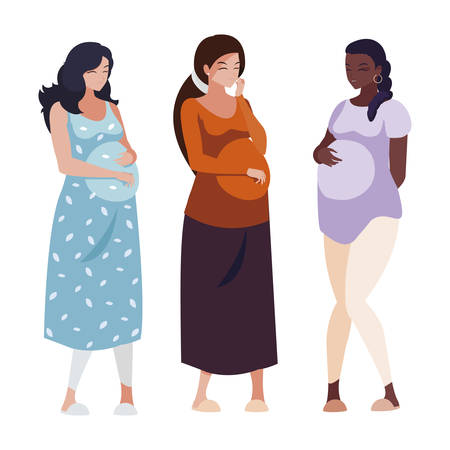 interracial group of pregnancy women characters vector illustration design Banque d'images - 125031718