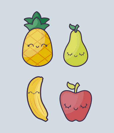 pineapple with set of fruits character vector illustration design Illustration