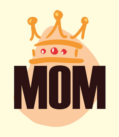 happy mothers day calligraphy mom crown vector illustration