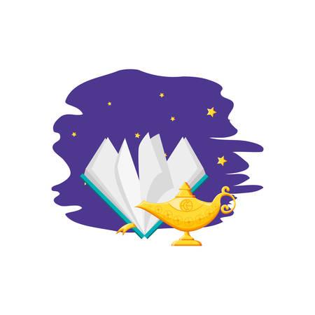koran book with teapot ramadan kareem vector illustration design 일러스트
