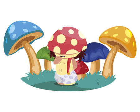 fungu elf in garden magic character vector illustration design 向量圖像