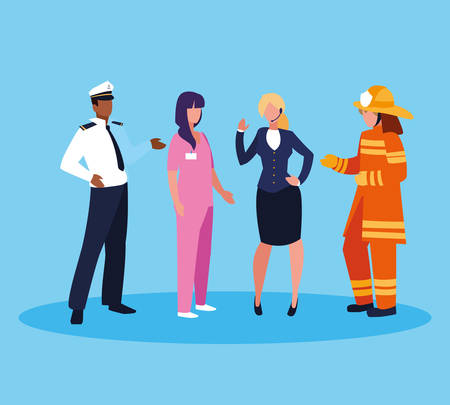 firefighter with group of professionals vector illustration design