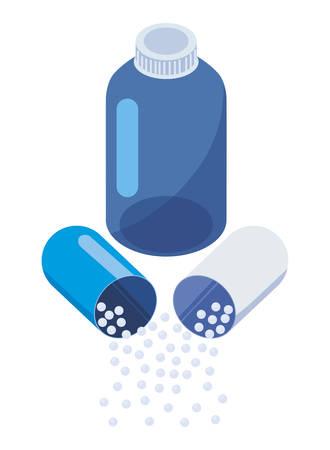 capsule drug and medical pot vector illustration design