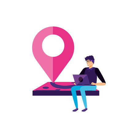 man using laptop with pin pointer location vector illustration design