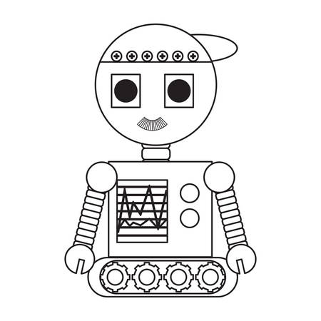 cartoon robot icon over white background black and white design vector illustration