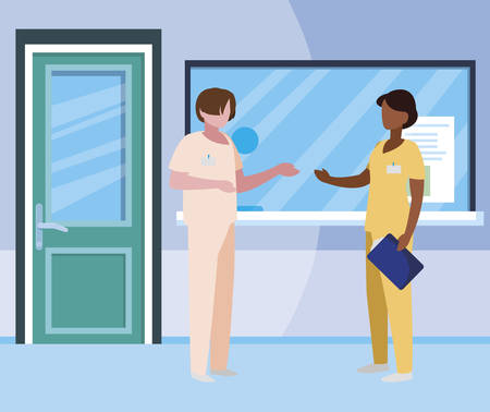 interracial couple medicine workers in reception hospital vector illustration design Çizim