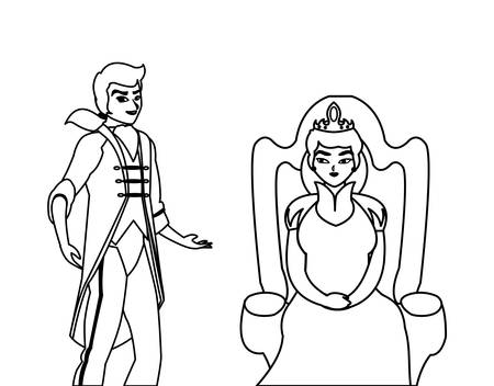 prince charming with queen on throne characters vector illustration design Illustration
