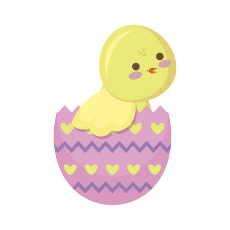 cute chicken of easter in egg vector illustration design