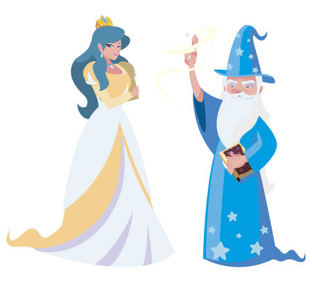 beautiful princess with wizard of tales characters vector illustration design Иллюстрация