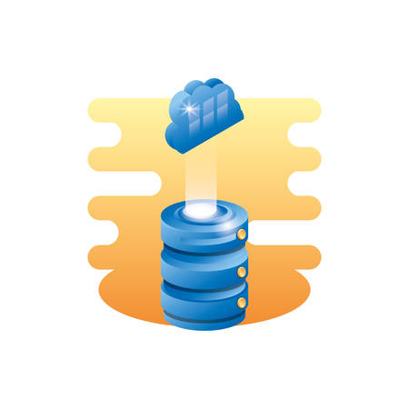 data center disk with cloud computing vector illustration design