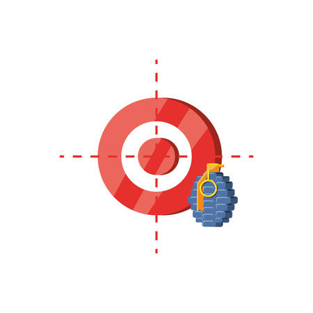 grenade explosive with target isolated icon vector illustration design  イラスト・ベクター素材
