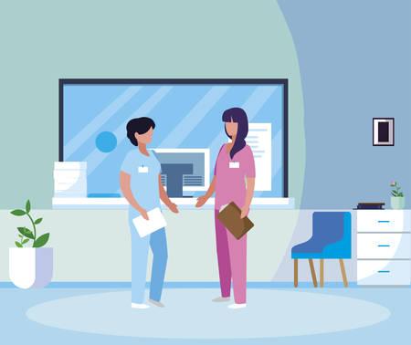 female medicine workers in hospital reception vector illustration design Foto de archivo - 125320139