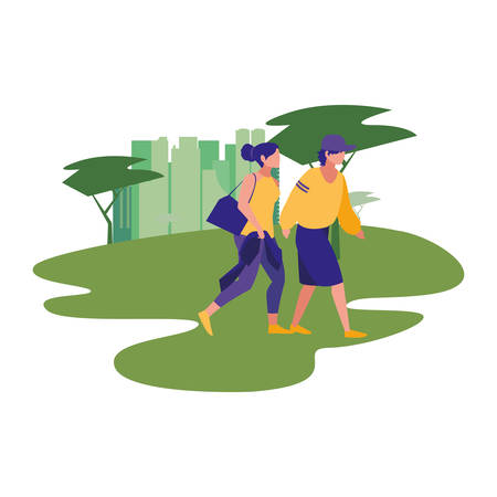 people walking park activity scene vector illustration