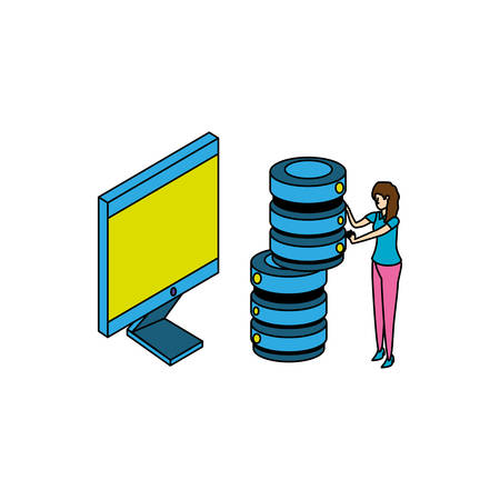 businesswoman worker with computer and data disk vector illustration design