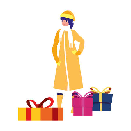 woman with winter clothes and christmas gifts vector illustration