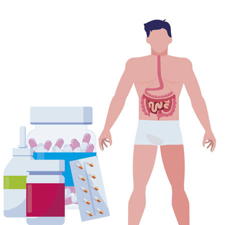 man anatomy with digestive system and medical icons vector illustration design Ilustração