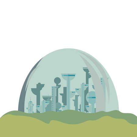 futuristic city building urban vector illustration design Vetores