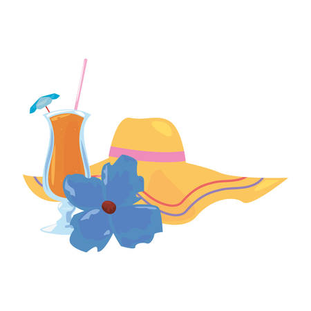 summer time holiday cocktail hat and flower   vector illustration Ilustracja