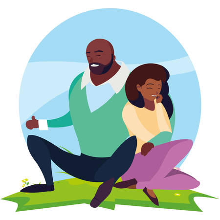 black couple seated in the field vector illustration design Illustration