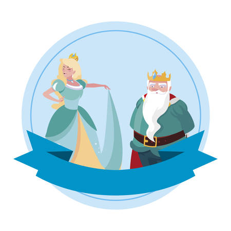 beautiful princess and king of tales characters vector illustration design Illustration