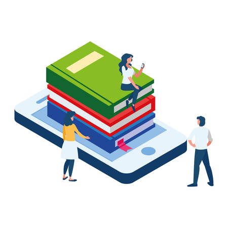 pile text books with smartphone and mini people vector illustration design