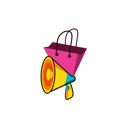 shopping bag with megaphone vector illustration design