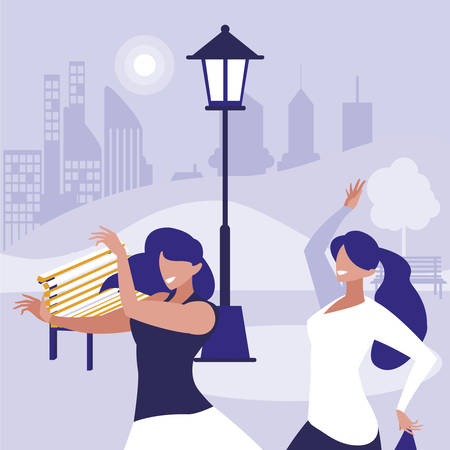 young girls dancing in the park characters vector illustration design