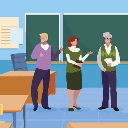 teachers group in the classroom characters vector illustration design Stok Fotoğraf - 125279735