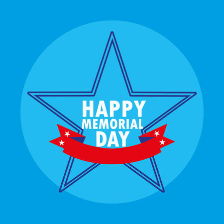 happy memorial day card with star and ribbon vector illustration design