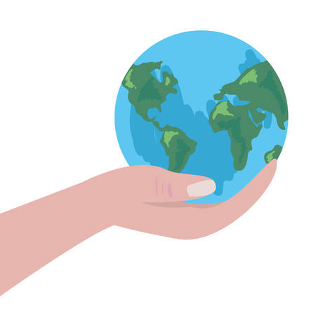 hand with world earth day vector illustration Illustration