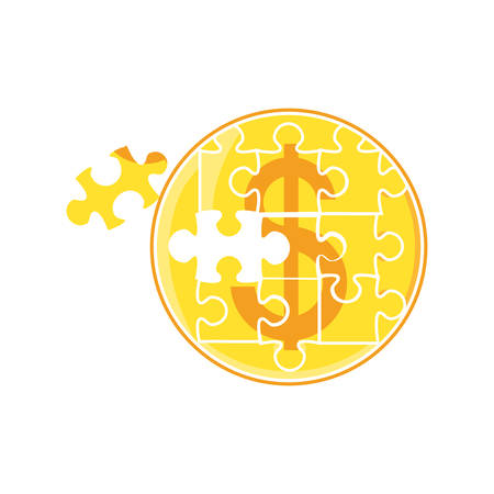 puzzle pieces in shape coin vector illustration design
